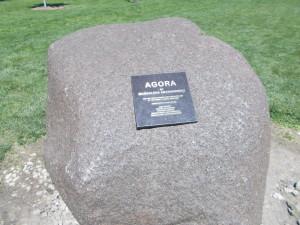 Sign for the Agora sculpture.