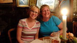 Aneta and Joy at dinner