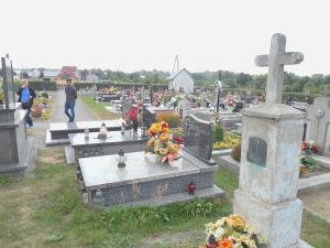Joy and David walking around the Rudy Rysie cemetery