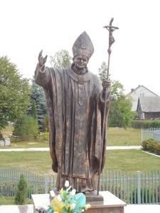 Pope John Paul II statue at Good Shepherd Catholic Church in town.